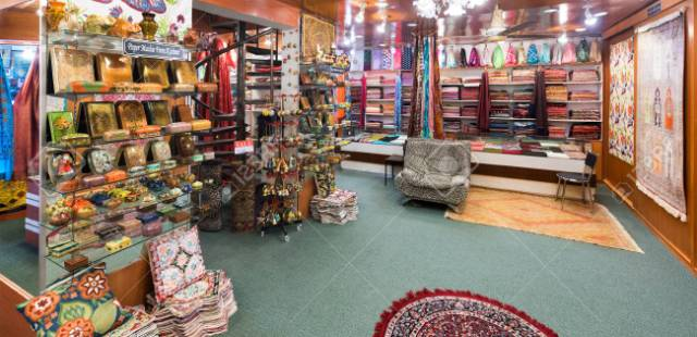 Unique Kashmiri handicrafts displayed at a handicrafts showroom